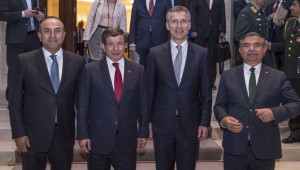 The Minister of Foreign Affairs of Turkey, Mevlut Cavusoglu with the Prime Minister of Turkey, Ahmet Davutoglu and NATO Secretary General Jens Stoltenberg and the Minister of Defence of Turkey, Ismet Yilmaz