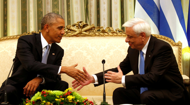 U.S. President Barack Obama meets with Greek President Prokopis Pavlopoulos at the Presidential Mansion during his visit to Athens, Greece November 15, 2016.   REUTERS/Kevin Lamarque