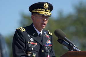 110831-N-TT977-168 U.S. Army Gen. David H. Petraeus delivers remarks at his retirement ceremony and Armed Forces Farewell for Joint Base Meyer-Henderson Hall, Va., August 31, 2011. Petraeus is retiring after a 37-year career to become the director of the Central Intelligence Agency. (DoD photo by Mass Communication Specialist 1st Class Chad J. McNeeley/Released)