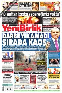 Yeni Birlik Gazetesi 1. Sayfası 01.12.2016