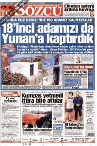 Sözcü Gazetesi 1. Sayfası 14.11.2016