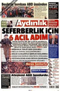Aydınlık Gazetesi 1. Sayfası 16.12.2016