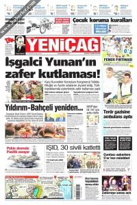 Yeni Çağ Gazetesi 1. Sayfası 27.12.2016