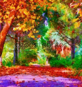 Colorful autumn trees digital painting with Monet style brushstrokes
