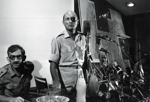 Israeli soldier, statesman, and Minister of Defence, General Moshe Dayan (1915 - 1981) holds a press conference in Jerusalem during the Six Day War.  Original Publication: People Disc - HD0181   (Photo by Stan Meagher/Getty Images)
