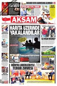 Akşam Gazetesi 1. Sayfası 08.07.2017