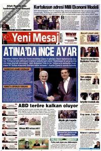 Yeni Mesaj Gazetesi 1. Sayfası 20.06.2017