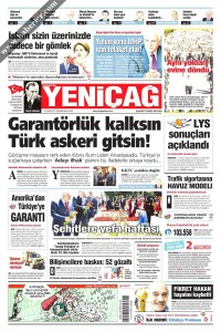 Yeni Çağ Gazetesi 1. Sayfası 12.07.2017