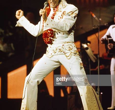 ELVIS: ALOHA FROM HAWAII -- Aired 4/4/73 -- Pictured: Elvis Presley during a live performance at Honolulu International Center in Honolulu, Hawaii on January 14, 1973 for his NBC special   (Photo by Gary Null/NBC/NBCU Photo Bank via Getty Images)